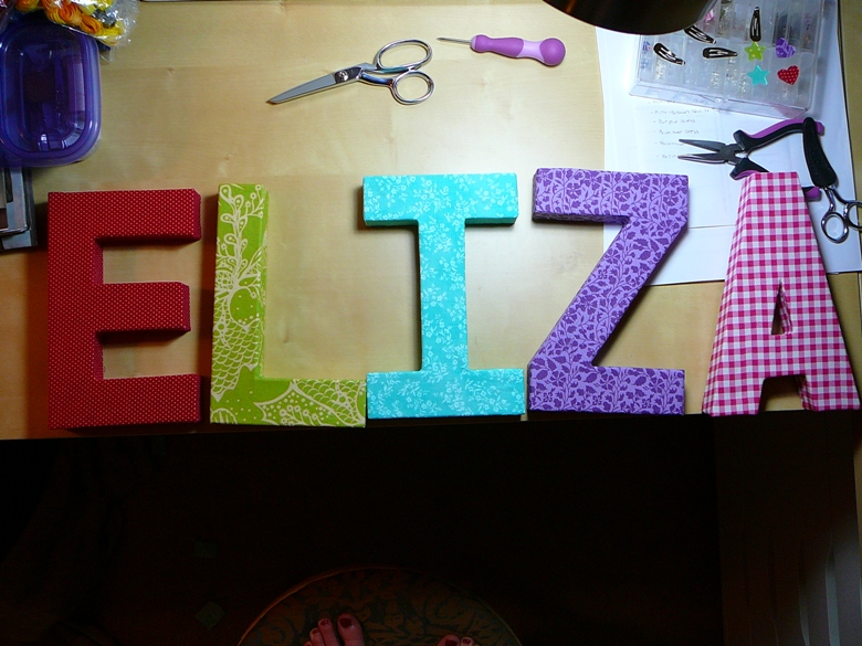 Chemistry couture fabric covered letters a tutorial for How to cover cardboard letters with fabric